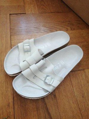 Birkenstock Sandales à lanière blanc-gris clair cuir