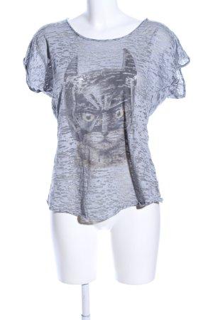 Einstein & Newton Camisa de malla gris claro estampado temático look casual
