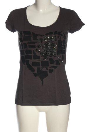 Einstein & Newton Strickshirt braun-schwarz Motivdruck Casual-Look