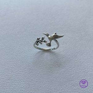 ♈️  Einstellbarer 925 Sterling Silber Ring, Kolibri & Olivenblatt, gestempelt, Neu