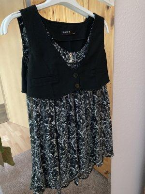Batik Mouwloze blouse wit-zwart