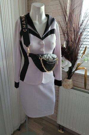 keine Sukienka z baskinką biały-czarny