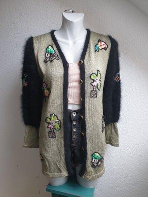 Einzelstück / Ausgefallene 80er Jahre Vintage Strickjacke mit Applikationen