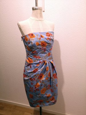 Robe bustier orange-bleu