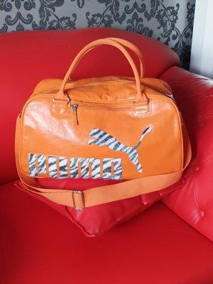 Einzelstück: PUMA  Sporttasche Leder orange mit Zebrafellimitat!
