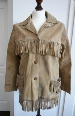 Einzigartige Vintage Lederjacke mit Patina und Fransen aus den USA