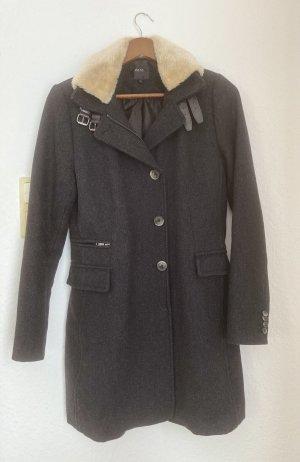 Zero Manteau en laine gris foncé-gris anthracite