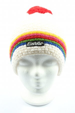 Eisbär Crochet Cap white-red striped pattern casual look