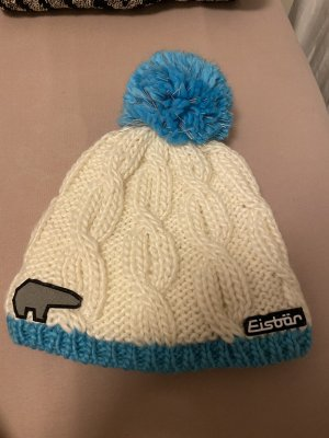 Eisbär Knitted Hat natural white-neon blue