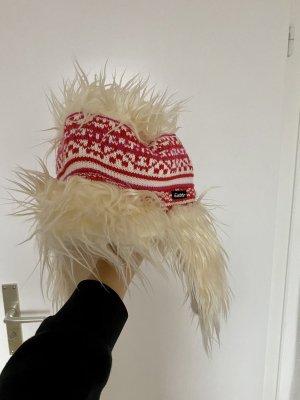 Eisbär Gorra de plato blanco-rojo