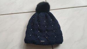 Eisbär Sombrero de punto azul oscuro lana merina