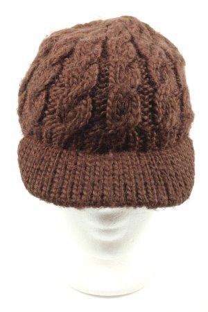 Eisbär Sombrero de punto marrón punto trenzado look casual