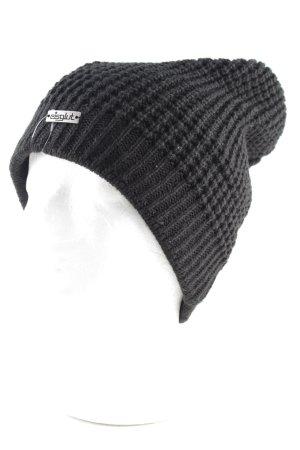 Chapeau en tricot noir style décontracté