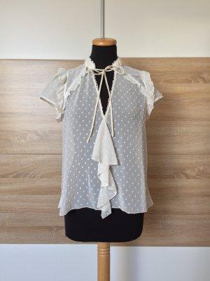 eiße Stickerei Punkte Rüschen Bluse von Zara, Gr. S (NEU)