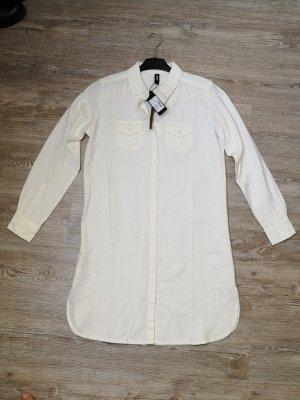 Eksept Bluse Long Bluse Kleid Leinen 36 Creme weiß