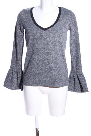 Eksept V-Ausschnitt-Pullover hellgrau Allover-Druck Casual-Look