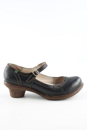 El Naturalista Tacones Mary Jane negro-marrón estilo extravagante