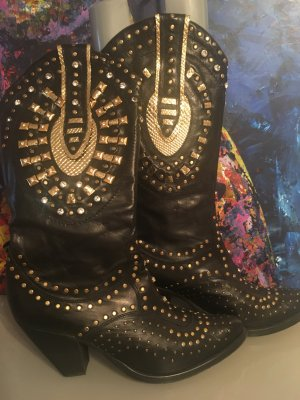 Botas estilo vaquero negro-color oro