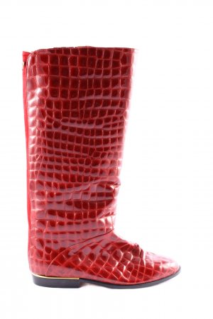 Elastomere Wide Calf Boots red animal pattern extravagant style