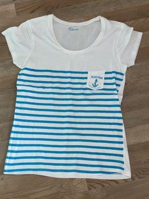 Electric California T-shirt rayé bleu fluo-blanc