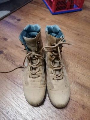 Patucos con cordones azul claro-marrón arena Cuero