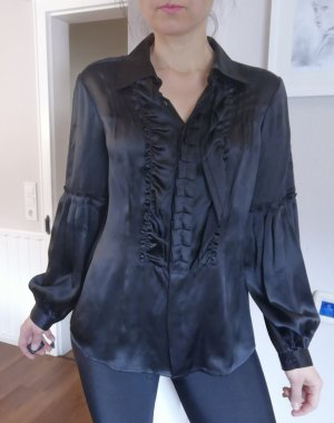 ae elegance Blusa de seda negro