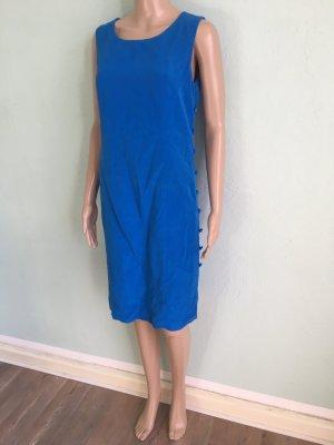 Elegance Paris Etuikleid Blau Seide Knöpfe