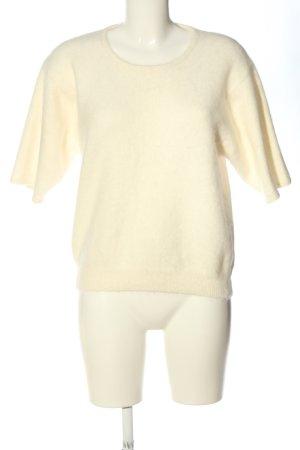 Elégance Paris Sweter z krótkim rękawem w kolorze białej wełny