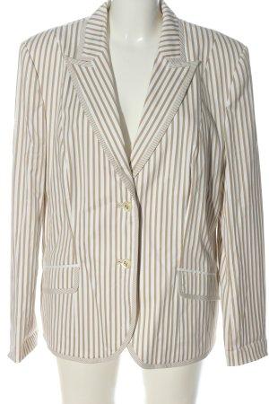 Elégance Paris Long-Blazer weiß-braun Streifenmuster Casual-Look