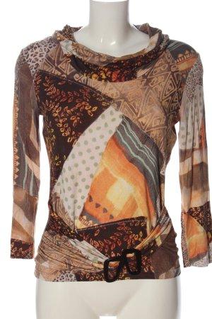 Elégance Paris Turtleneck Shirt brown-light orange abstract pattern casual look