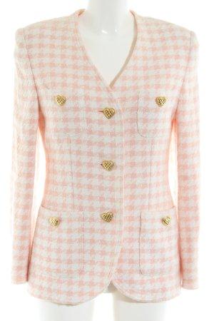 Elégance Paris Blazer Tweed rosa-blanco estampado a cuadros estilo «business»