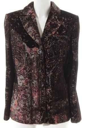 Elégance Paris Blazer de lana marrón oscuro estampado floral elegante