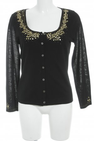 Elegance Prestige Knitted Twin Set black-gold-colored casual look