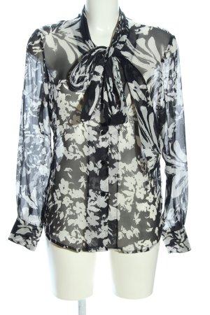 Elégance Transparenz-Bluse schwarz-wollweiß Allover-Druck Elegant