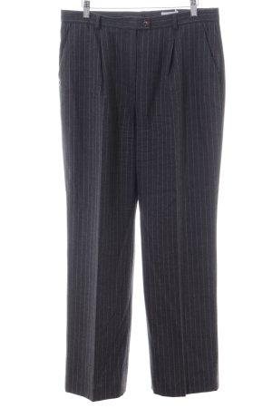 Elégance Pantalone di lana nero motivo a righe stile professionale