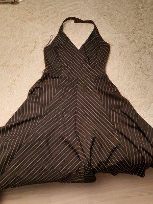 Zara Vestido de cuello Halter marrón oscuro-blanco puro