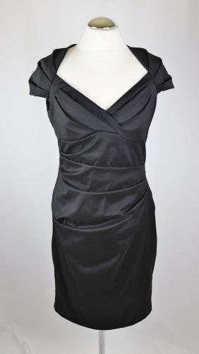 Elegant Abendkleid Party Vera Mont Größe M 38 Schwarz Stretch Marylin Drappee` 50er Retro Ausschnitt Midikleid Wrapp Kleid