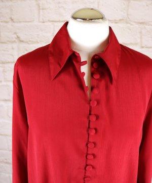 Elegant Bluse Kofferbluse C&A Größe M 38 Rot Kirschrot Satin Glanz Hemdbluse Kugelknopf