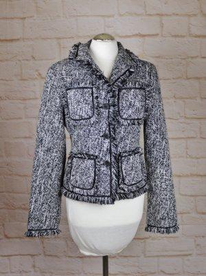 Blazer en tweed noir-blanc tissu mixte