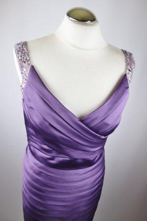 Elegant Cocktail Gala Kleid Abendkleid Etuikleid Größe M 38 Lila Flieder Plume Satin Perlen Silberfarben V- Neck Plissee