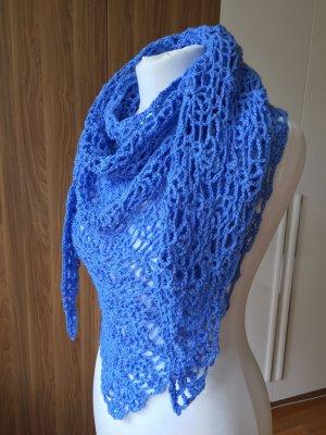 Elegant Dreieck crochet Tuch, Handmade 160X65 cm, Blau