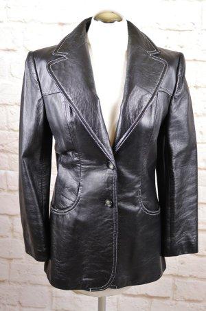 Elegant Echt Leder Jacke Lederblazer Induyco Größe S 36 Lederjacke Blazer Longblazer Schwarz Weiß Naht Kontrast