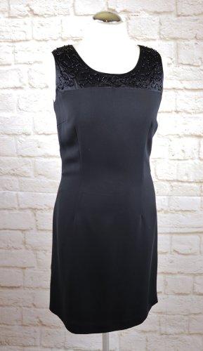Elegant Etuikleid Shiftkleid Jacqueline de Young Größe 36 38 Schwarz Kleid Perlen Stickerei Cocktail Abendkleid