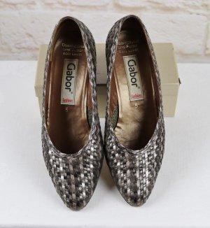 Elegant Flechtleder Pumps Trotteur Gabor Größe 5 38 Bronze Grau Braun Leder Sommer Schuhe