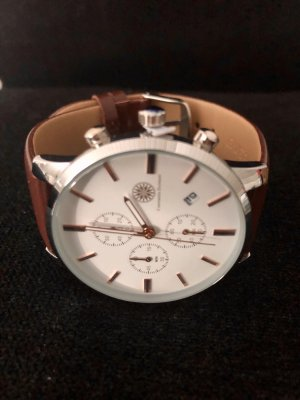 Constantin Durmont Watch With Leather Strap brown-white leather