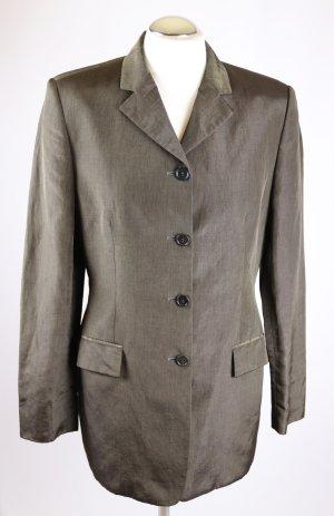 Elegant Long Blazer Gehrock St.Emile Größe M 38 Bronzefarben Braun Dunkelbraun Glanz Business Jacke Mantel Kurzmantel