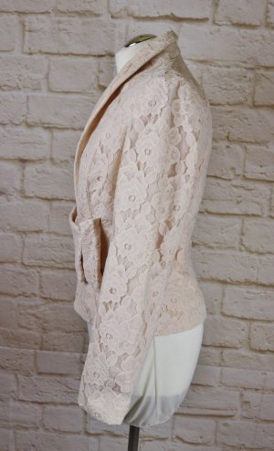 Elegant Spitzenblazer Blazer Jacke H&M Größe 38 M Nude Rosa Wollweiß Schleife Spitzenstoff Baumwolle Romantisch Hochzeit Braut Jacke