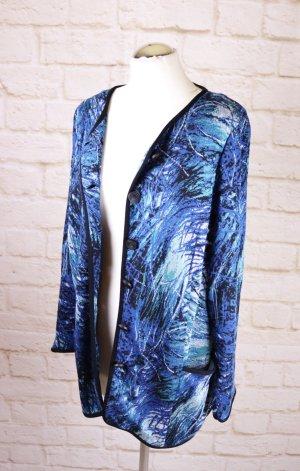 Elegant Strickjacke Cardigan Longjacke Größe 44 XL Blau Schwarz Aqua Abstrakt Muster Jaquard Strick V-Neck Weste