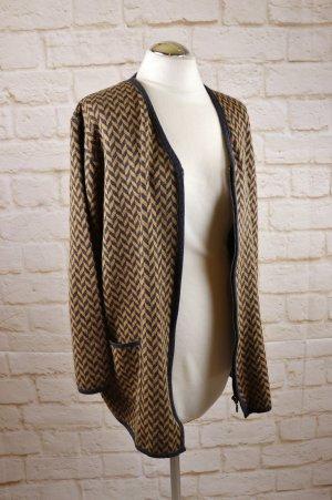 Elegant Strickjacke Long Cardigan Opus1 by Martello Größe 42 44 Braun Hellbraun Grau Fischgrät Muster Reißverschluss Wolle