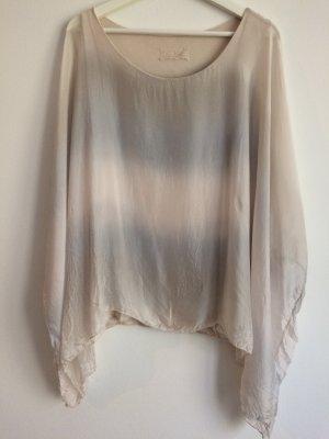 Blusa in seta grigio chiaro-bianco sporco Viscosa
